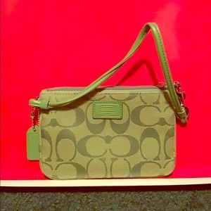 Small Coach wristlet. 4x6 lime green canvas